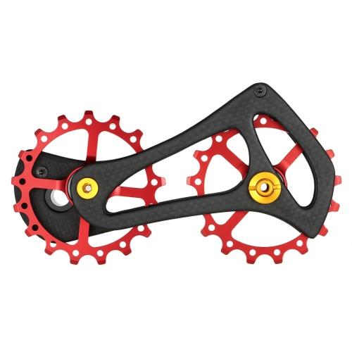 Set di ruote Jockey per pulegge posteriori per deragliatore posteriore per bici da strada in fibra di carbonio Lixada 17T