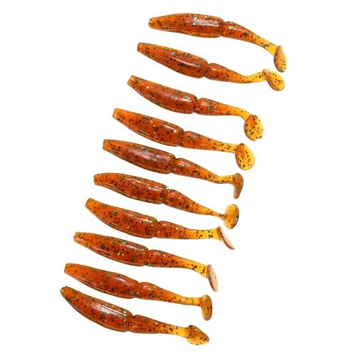 Lixada 10pcs 7.5cm / 3.3g T Хвост Тип рыбы Мягкая уловка для рыбалки Мягкая приманка Мягкая приманка для рыбалки наживки