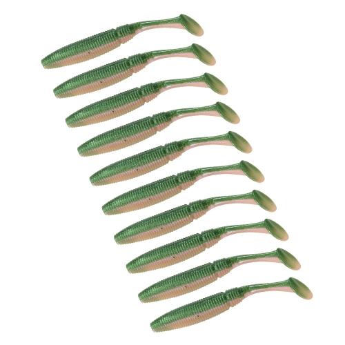 Lixada 10 PZ 9 cm / 4.7g T Tail Esche di Pesce A Due Sezione Morbido Richiamo di Pesca Richiamo Morbido Esca Morbida Pesca in Mare Richiamo