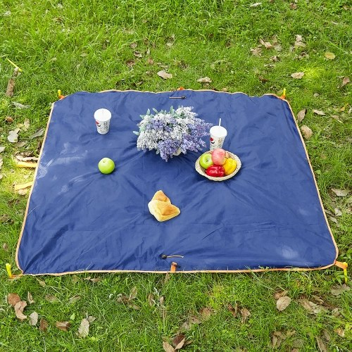 2-IN-1 Camping Blanket Picnic Ground Tarp Traveling Hiking Beach Park Ground Mat Water Repellent Camping Storage Bag