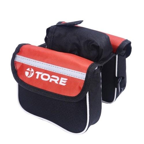 Rama rowerowa Torba podwójna torebka rowerowa na telefon komórkowy Przednia górna torba rowerowa Akcesoria czarny