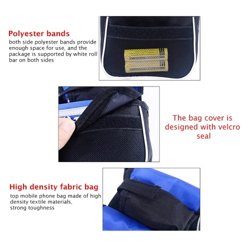Bicycle Frame Bag Double Pouch Cycling For Cell Phone Front Top Bike Travel Bags Accessories Black