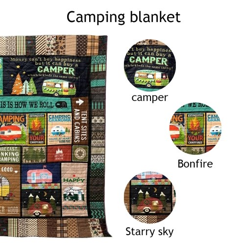 Camping Picnic Quilt Blanket
