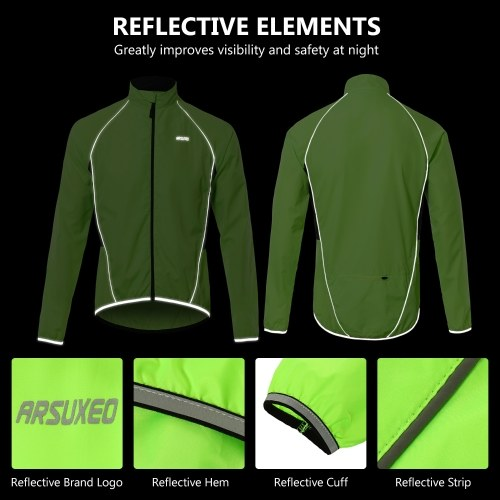 Men Reflective Cycling Jacket Breathable Long Sleeve Bicycle Jersey Wind Coat Vest Outdoor Sportswear Image