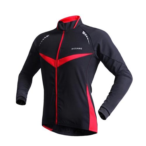 WOSAWE 冬暖かいジャケット ランニング フィットネス サイクリング自転車屋外スポーツ服ジャケット長袖ジャージ風コート