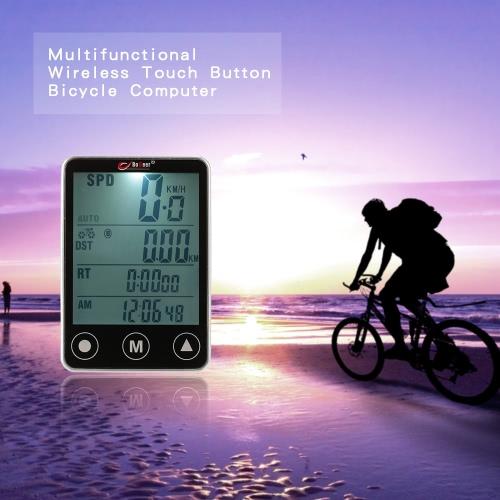 Multifuncional inalámbrico táctil LCD Botón de bicicletas ordenador cuentakilómetros velocímetro