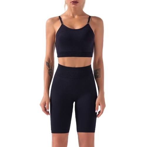 Women Sport Bra and Shorts Set 2 Piece Adjustable Spaghetti Padded Bra High Waist Shorts Sportswear for Gym Home