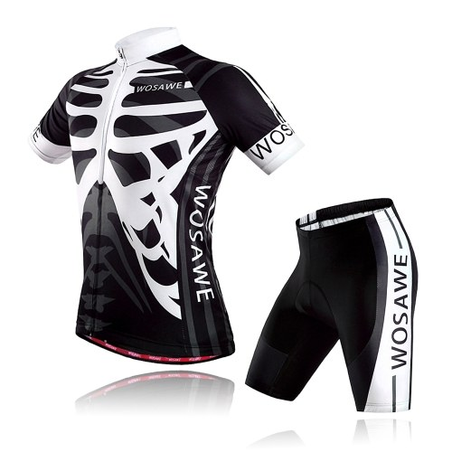 Short Sleeve Cycling Jersey and Padded Shorts Set for Men Women Quick Dry Breathable Mountain Bike Shirt Clothing Image
