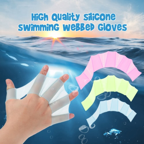 Un par de engranaje de la nadada aletas silicona mano aletas Unisex Guantes palmeados para nadar entrenamiento S / M / L tamaño