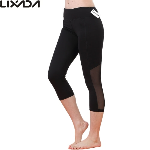 Lixada Women Tight Yoga Pants Stretchy Quick Drying Capri Pants Sports Leggings for Yoga Running