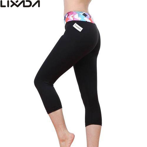 Lixada donne stretto Yoga pantaloni elastico Quick-dry Capri pantaloni sport Leggings per Yoga Running