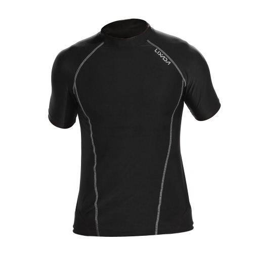 Lixada мужчин короткие рукава быстрый сушки дышащей Спорт футболку сжатия рубашку для Крытый & Открытый тренировки фитнес