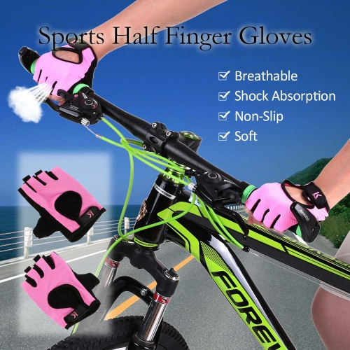 Deportes medio dedo guantes que compite con el ciclismo de pista Guantes bici del motor de ciclo de la bicicleta