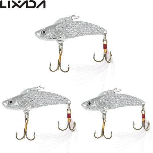 Lixada 3pcs / lot esche da 8g / 12g / 18g paillettes VIB duro di pesca la pesca con esche Paillettes con ancorette