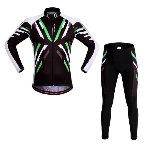 WOSAWE®クイックドライストレッチユニセックスマウンテンバイクサイクリングロングスリーブジャージパンツ自転車タイツ服はスーツアウトドアスポーツバイクレーシングを設定します。