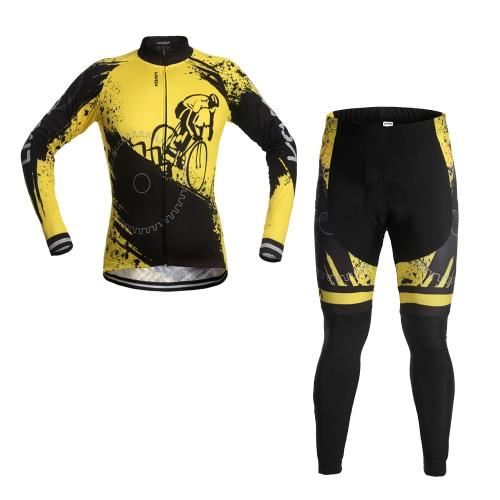 Lixada Unisex Breathable Comfortable Long Sleeve Padded Pants Cycling Clothing Set Riding Sportswear