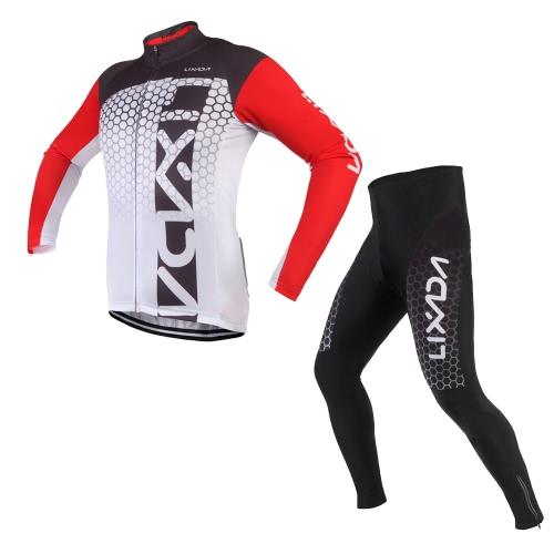 Lixada Unisex traspirante manica lunga confortevole imbottite dei pantaloni inverno vestiti di riciclaggio Set strada Bicicletta sportivo