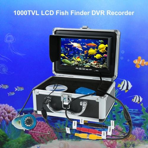 7 '' de color digital LCD 1000TVL buscador de los pescados de 120 grados HD DVR Pesca impermeable cámara de vídeo subacuático del monitor de la cámara Pesca 15M / 30M cable de EU / US Plug