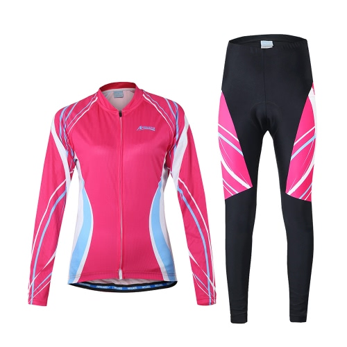 Al aire libre cómodo respirable de la manga larga de ciclo de la ropa del ciclismo chaqueta y pantalones acolchados de Arsuxeo mujeres de montar de deporte