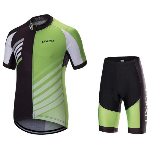 Lixada Men Breathable Quick Dry Short Sleeve Jersey Shirt Gel Padded Shorts Cycling  Clothing Set Riding Biking Sportswear 606472640