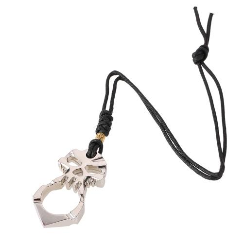 Dispositivo di protezione antinfortunistica del modello del cranio dell'antenna autocentrante EDC Dispositivo esterno dell'attrezzatura di arma protettiva dell'attrezzo per le donne Anti Wolf poliestere di salvataggio della corda lega di zinco protettivo di barretta di sopravvivenza della barretta