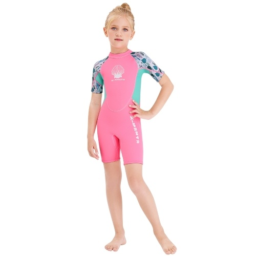 Girls Short Wetsuit One Piece Shorty Diving Swimsuit with Zipper Quick Dry Short Sleeves Surf Suit for Water Sports