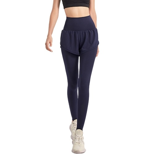 Women 2-in-1 Sports Pants Wide Elastic Waistband Pocket Ankle Length Yoga Leggings Running Sports Trousers