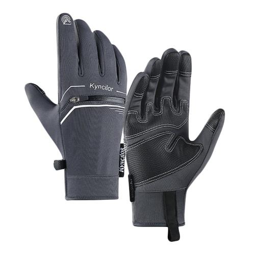 Winter Men Women Cycling Gloves Windproof Waterproof Anti-Slip Touchscreen Warm Fleece Full Finger Bicycle Skiing Gloves Image