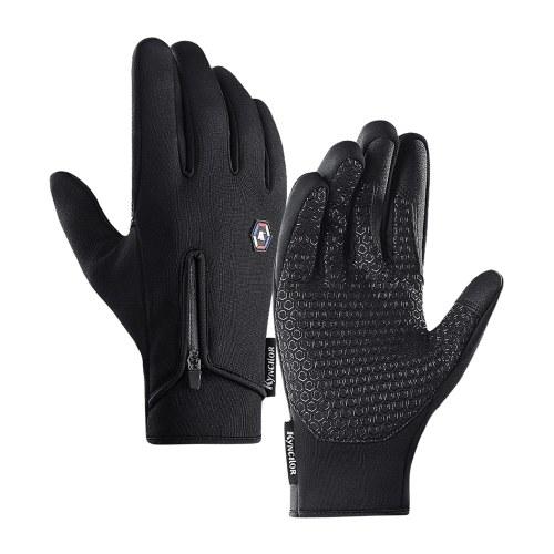 Men Women Winter Cycling Gloves Three Fingers Touch-Screen Fleece Windproof Waterproof Warm Outdoors   Sport Gloves Image
