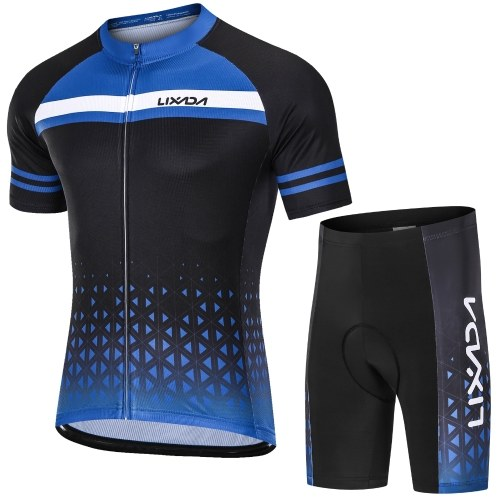 Lixada Men Cycling Jersey Set Breathable Quick-Dry Short Sleeve and Padded Shorts MTB Cycling Outfit Set Image