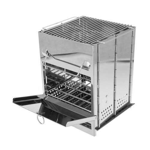 Churrasqueira de acampamento dobrável de aço inoxidável pequenos fogões portáteis com bolsa de transporte para churrasco de cozinha de acampamento