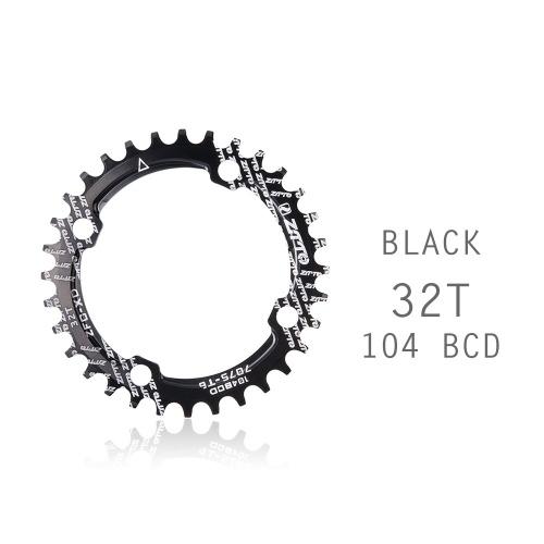 Bicycle Crank 104BCD Round Shape Narrow Wide 32T/34T/36TMTB Chainring Bicycle Chainwheel Bike Circle Crankset Single Plate