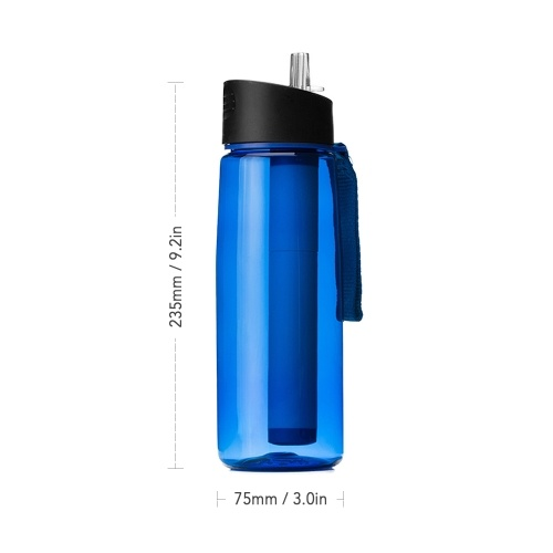 650ml Outdoor Water Filter Bottle Water Filtration Bottle Purifier for Camping Hiking Traveling