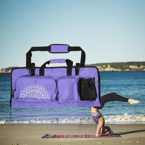 Yoga Mat Bag with Open Ends Mobile Pocket and Water Bottle Holder