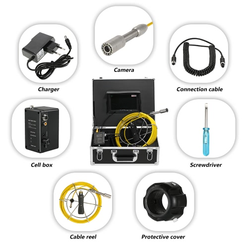 Lixada 20M Drain Pipe Sewer Inspection Camera IP68 Waterproof Industrial Endoscope Borescope Inspection System Snake Camera 7