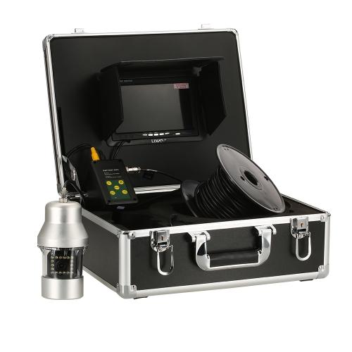 Lixada 1000TVL bajo cámara de pesca portátil a prueba de agua 18 LED 360 grados cámara giratoria buscador de peces 7 pulgadas monitor LCD 20 m / 50 m / 100 m cable