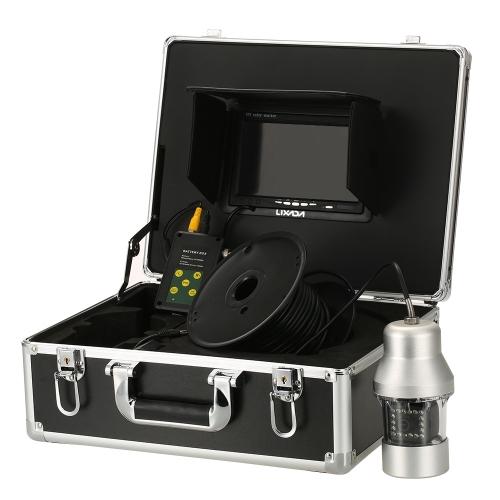 Lixada 1000TVL под рыболовной камерой Портативный водонепроницаемый 18 светодиодов 360 градусов вращающейся камеры Fish Finder 7-дюймовый ЖК-монитор 20 м / 50 м / 100 м кабель