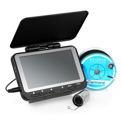 """Lixada 15M / 30M 1000TVL Fish Finder Pesca subacquea con fotocamera da 4,3 """"Monitor LCD 8 infrarossi IR LED Videocamera con visione notturna 140 ° Grandangolare"""