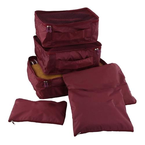 6pcs / set borse da viaggio bagagli leggeri uomini e donne imballaggio cubetti organizer sacchetti di compressione moda doppia cerniera borsa impermeabile in poliestere valigia (blu chiaro)