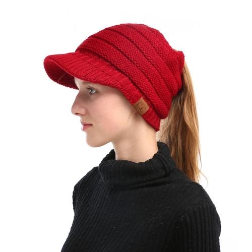 Зимняя женская девушка Мягкая тёплая трикотажная тучная шляпа фото