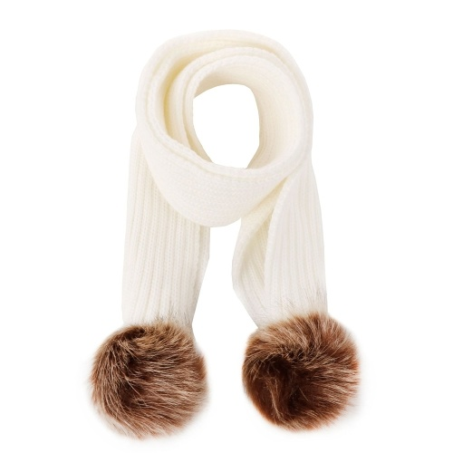 Lixada Winter Warm Knitted Scarf Muffler Ribbed Warm Wool Scarfs Infant Toddler Newborn Baby Scarf with Pom Pom Balls