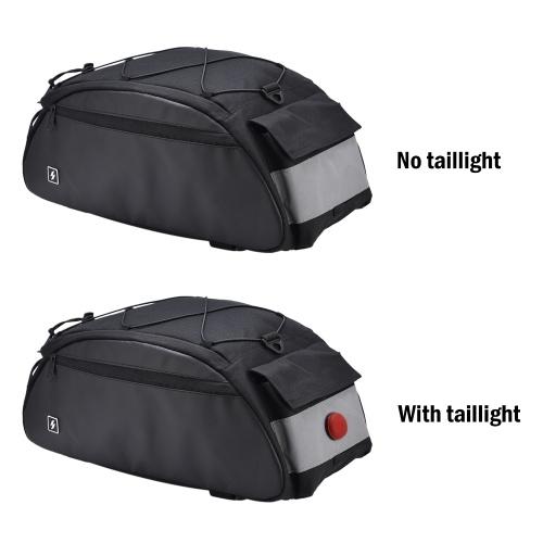 10L Bike Rack Bag Waterproof Cycling Bike Rear Seat Cargo Bag Bike Trunk Pack Shoulder Carry Bag with Taillight Image