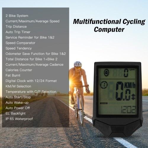 Велоспорт Беспроводной компьютерный велокомпьютер Cadence Многофункциональный непромокаемый велокомпьютер с подсветкой ЖК-дисплея фото