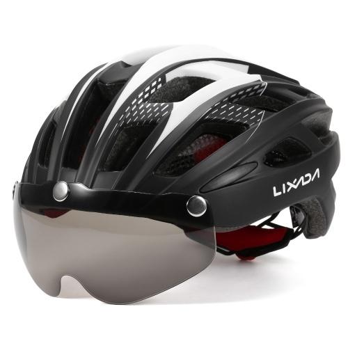 Lixada Casco de ciclismo transpirable con gafas magnéticas Mujeres Hombres Casco de seguridad ligero Casco de bicicleta para bicicleta de montaña Bicicleta de carretera