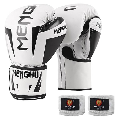 Boxing Gloves with Wrist Support Straps Kick Boxing Muay Thai Punching Training Bag Gloves Adjustable Handwraps Outdoor Sports Mittens Boxing Practice Equipment for Punch Bag Sack Boxing Pads 12oz