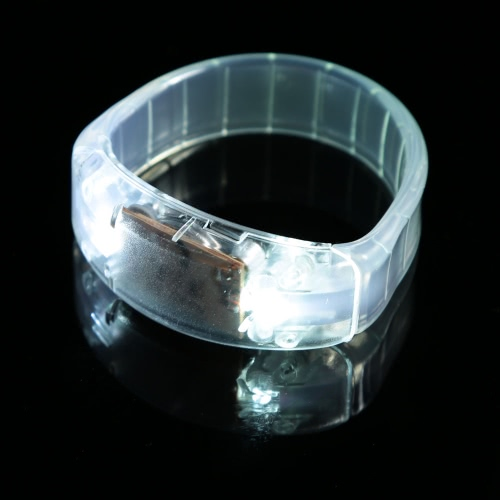 Sound Controlled LED Light Up Bracelet Voice Flash Activated Unisex Plastic Sports Wrist Band