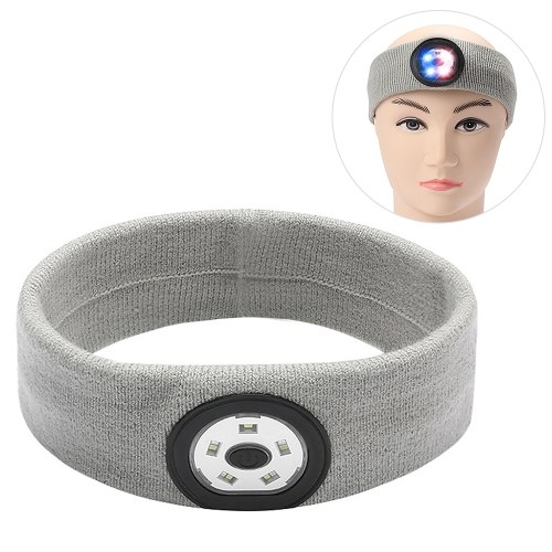 Sport Sweat Headbands with LED Lights for Men Women Workout Head Band Sweatbands Outdoor   Running Night Safety Image