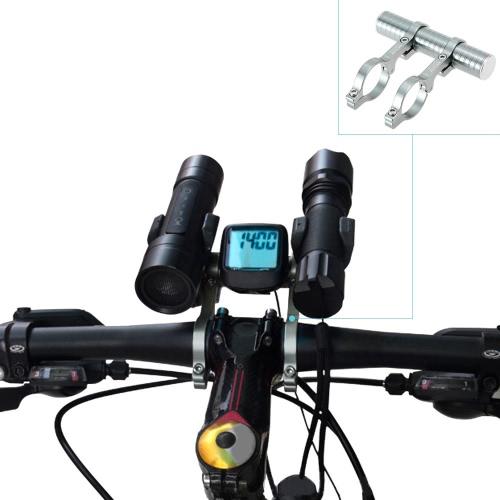 Titolare 31,8 millimetri doppio manubrio in lega di alluminio di estensione Extender per bici luce del tachimetro della bicicletta