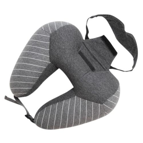 Oreiller 2 en 1 en forme de U avec Patch Avion Oreiller pour le cou Masque pour les yeux Support de tête souple pour dormir Vol Voiture Maison Voyage Bureau
