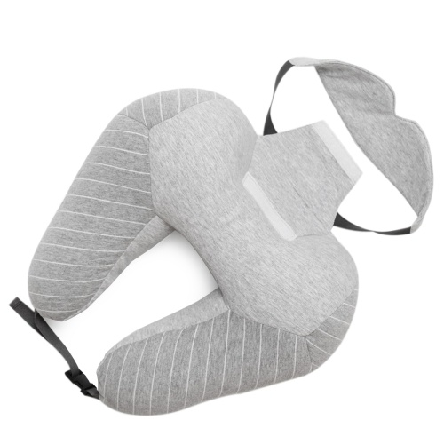 2 in 1 Pillow U-shape Pillow with Patch Airplane Neck Pillow Eye Mask Soft Head Support for Sleeping Flight Car Home Travel Office